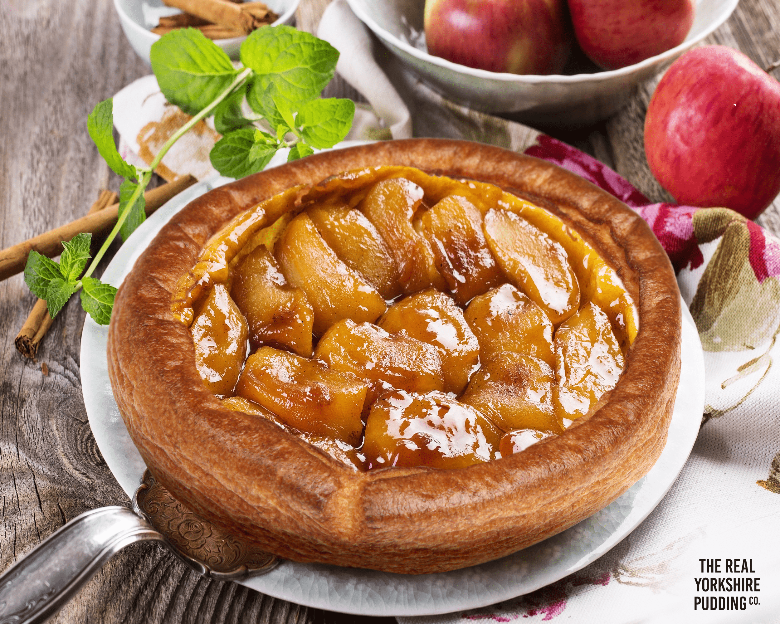 Yorkshire Pudding with caramel apples